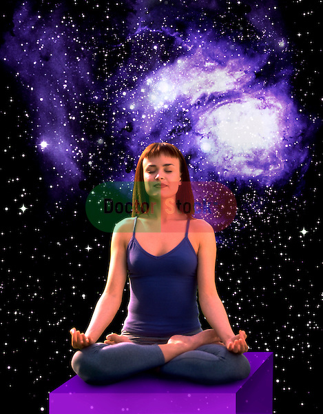 metaphoric composite photo illustration with icons of health including female practicing yoga and deep space imagery
