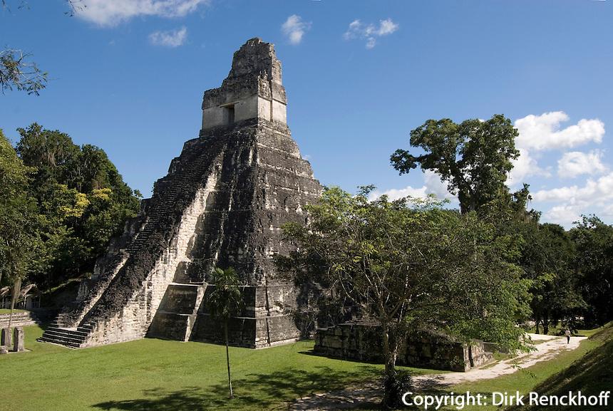 Maya Tempel Nr. 1 (Großer Jaguar),Tikal Nationalpark, Guatemala, Unesco-Weltkulturerbe