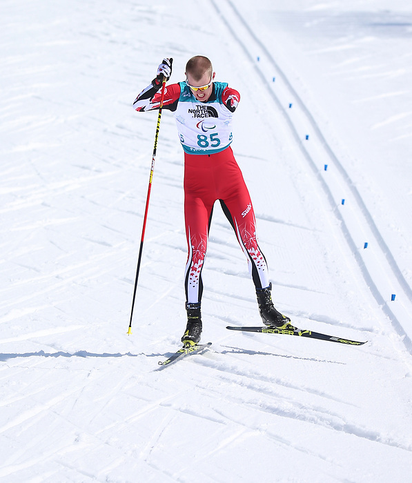 Mark Arendz, PyeongChang 2018 - Para Nordic Skiing // Ski paranordique.<br /> Mark Arendz wins silver in the mens 7.5km standing event // Mark Arendz remporte l'argent dans l'épreuve masculine debout de 7,5 km. 10/03/2018.