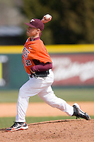Relief pitcher Brandon Fisher #12 of the Virginia Tech Hokies in action against the Wake Forest Demon Deacons at English Field March 27, 2010, in Blacksburg, Virginia.  Photo by Brian Westerholt / Four Seam Images