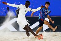 28th August 2021; Luzhniki Stadium, Moscow, Russia: FIFA World Cup Beach Football tournament; Semi final match Japan versus Senegal: Japan's Naoya Matsuo against Pape Mar Boye of Senegal, during the match between Japan and Senegal