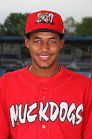 Batavia Muckdogs Infielder Yunier Castillo (7) poses for a photo before minicamp team practice at Dwyer Stadium in Batavia, New York June 14, 2010.   Photo By Mike Janes/Four Seam Images