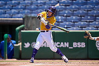 East Carolina Pirates Lane Hoover (4) bats during a game against the Memphis Tigers on May 25, 2021 at BayCare Ballpark in Clearwater, Florida.  (Mike Janes/Four Seam Images)