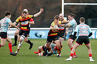 Morgan Ward of Richmond Rugby fends off Tom Williams of Blackheath Rugby during the English National League match between Richmond and Blackheath  at Richmond Athletic Ground, Richmond, United Kingdom on 4 January 2020. Photo by Carlton Myrie.