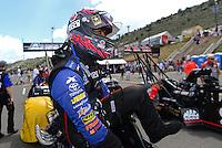 Jul, 22, 2012; Morrison, CO, USA: NHRA top fuel dragster driver Antron Brown during the Mile High Nationals at Bandimere Speedway. Mandatory Credit: Mark J. Rebilas-US PRESSWIRE