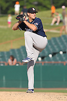 New Hampshire Fisher Cats pitcher Evan Englebrook #38 delivers a pitch during a game against the Bowie Baysox at Prince George's Stadium on June 17, 2012 in Bowie, Maryland. New Hampshire defeated Bowie 4-3 in 13 innings. (Brace Hemmelgarn/Four Seam Images)
