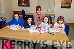 Enjoying doing their homework in the homework club in the Shanakill Family Resource Centre on Thursday.<br /> L to r: Michelle McDonagh, Hannah Reidy, Madison O'Mara, Amily Egan Smith and Nicola Moore (Teacher)