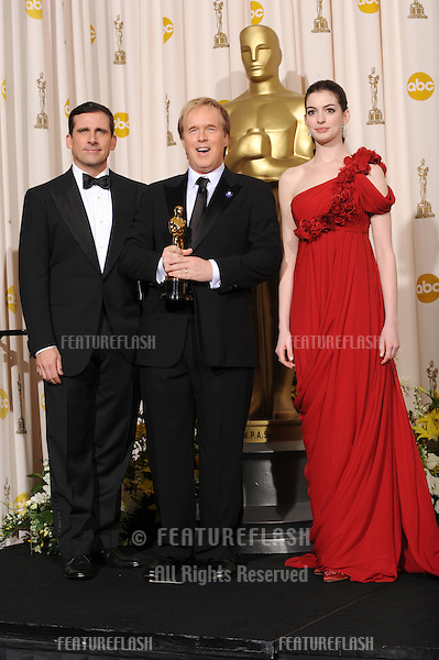 Steve Carrell & Brad Byrd & Anne Hathway at the 80th Annual Academy Awards at the Kodak Theatre, Hollywood..February 24, 2008 Los Angeles, CA.Picture: Paul Smith / Featureflash