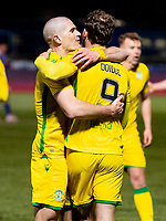 V5th April 2021; Palmerston Park, Dumfries, Scotland; Scottish Cup Third Round, Queen of the South versus Hibernian; Christian Doidge of Hibernian celebrates after scoring second goal with Alex Gogic of Hibernian for 0-2 in the 67th minute