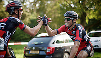 stagiair Dylan Theuns (BEL/BMC) is the first one to congratulate teammate/winner Greg Van Avermaet (BEL/BMC) after the finish<br /> <br /> Grand Prix de Wallonie 2014