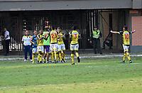 CÚCUTA - COLOMBIA, 08-02-2020: Jugadores de Alianza Petrolera, celebran el gol anotado al Alianza Petrolera, durante partido entre Cúcuta Deportivo y Alianza Petrolera, de la fecha 4 por la Liga BetPlay DIMAYOR I 2020, jugado en el estadio General Santander de la ciudad de Cúcuta. / Players of Alianza Petrolera, celebrate a scored goal to Alianza Petrolera, during a match between Cucuta Deportivo and Alianza Petrolera, of the 4th date for the BetPlay DIMAYOR I Leguaje 2020 at the General Santander Stadium in Cucuta city Photo: VizzorImage / Juan Pablo Bayona / Cont.