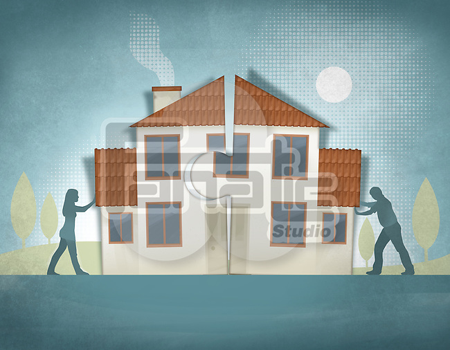 Illustrative image of couple pushing house pieces together representing home making