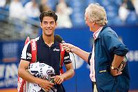 15-7-08, Amersfoort, Tennis, Dutch Open,  Jesse Huta Galung wordt geinterviewd door Jack van der Voorn