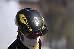 Wout Van Aert (BEL) Team Jumbo-Visma at sign on before the start of the 112th edition of Milan-San Remo 2021, running 299km from Milan to San Remo, Italy. 20th March 2021. <br /> Photo: LaPresse/Fabio Ferrari   Cyclefile<br /> <br /> All photos usage must carry mandatory copyright credit (© Cyclefile   LaPresse/Fabio Ferrari)