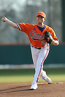 Clemson Tigers Starting Pitcher Scott Weismann during the opener of the 2011 season against the Eastern Michigan Eagles at Doug Kingsmore Stadium, Clemson, SC. Clemson won 14-3. Photo By Tony Farlow/Four Seam Images.