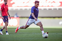 ZAPOPAN, MEXICO - MARCH 21: Jonathan Lewis #7 of the United States warming up during a game between Dominican Republic and USMNT U-23 at Estadio Akron on March 21, 2021 in Zapopan, Mexico.