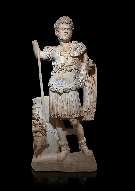 Roman statue of Emperor Caracalla. Marble. Perge. 2nd century AD. Inv no  2014/194. Antalya Archaeology Museum; Turkey. Against a black background.<br /> <br /> Caracalla Roman emperor from 198 to 217 AD. He was a member of the Severan Dynasty, the elder son of Septimius Severus and Julia Domna. Co-ruler with his father from 198, he continued to rule with his brother Geta, emperor from 209, after their father's death in 211. He had his brother murdered later that year, and reigned afterwards as sole ruler of the Roman Empire.