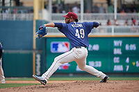 Frisco RoughRiders pitcher Jefferson Medina (49) during a Texas League game against the Midland RockHounds on May 22, 2019 at Dr Pepper Ballpark in Frisco, Texas.  (Mike Augustin/Four Seam Images)