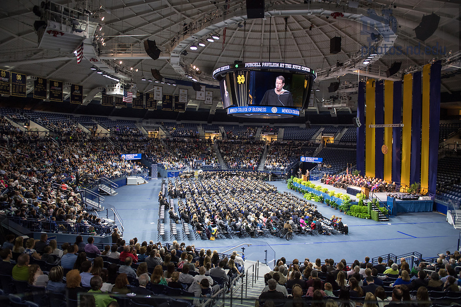 May 20, 2017; The Mendoza College of Business 2017 Graduate Commencement and Diploma Ceremony in the Joyce Center Purcell Pavilion.  (Photo by Barbara Johnston/University of Notre Dame)