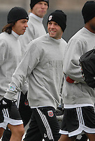 DC United midfielder Ben Olsen (14) at the first training session of the 2008 season at the auxiliary fields at RFK Stadium in Washington DC on Monday January 28, 2008.