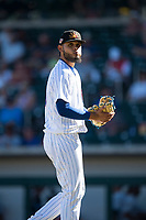 Mesa Solar Sox starting pitcher Erick Leal (40), of the Chicago Cubs organization, walks off the field between innings of an Arizona Fall League game against the Peoria Javelinas at Sloan Park on November 6, 2018 in Mesa, Arizona. Mesa defeated Peoria 7-5 . (Zachary Lucy/Four Seam Images)