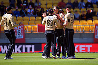 NZ's Trent Boult celebrates dismissing Joshua Philippe lbw during the 5th international men's T20 cricket match between the New Zealand Black Caps and Australia at Sky Stadium in Wellington, New Zealand on Sunday, 7 March 2021. Photo: Dave Lintott / lintottphoto.co.nz