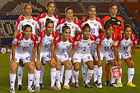 Costa Rica Starting Eleven.. USWNT vs Costa Rica in the 2010 CONCACAF Women's World Cup Qualifying tournament held at Estadio Quintana Roo in Cancun, Mexico on November 1st, 2010.
