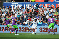 Jefferson Montero of Swansea City vies for possession with Eros Pisano of Bristol City during the Sky Bet Championship match between Swansea City and Bristol City at the Liberty Stadium, Swansea, Wales, UK. Saturday 25 August 2018