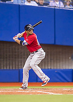 1 April 2016: Boston Red Sox outfielder Ryan LaMarre in action during a pre-season exhibition series between the Toronto Blue Jays and the Boston Red Sox at Olympic Stadium in Montreal, Quebec, Canada. The Red Sox defeated the Blue Jays 4-2 in the first of two MLB weekend games, which saw an attendance of 52,682 at the former home on the Montreal Expos. Mandatory Credit: Ed Wolfstein Photo *** RAW (NEF) Image File Available ***