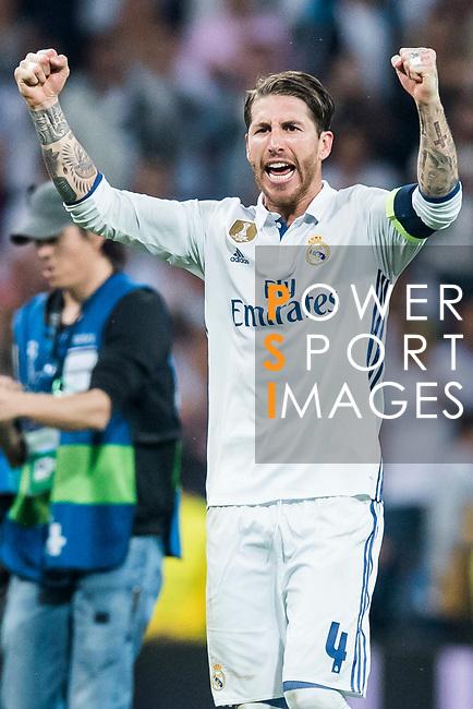 Sergio Ramos of Real Madrid celebrates during their 2016-17 UEFA Champions League Semifinals 1st leg match between Real Madrid and Atletico de Madrid at the Estadio Santiago Bernabeu on 02 May 2017 in Madrid, Spain. Photo by Diego Gonzalez Souto / Power Sport Images