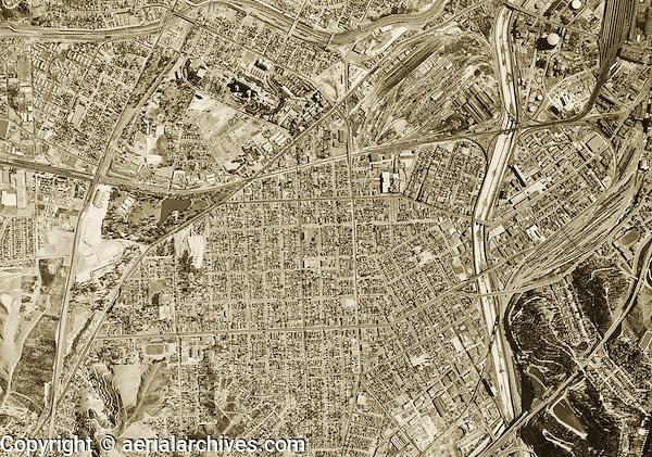 historical aerial photograph Los Angeles, California, 1952