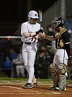 Sarasota Sailors Mario Trivella (17) fist bumps catcher Kyle Upman (4) during a game against the Riverview Rams on February 19, 2021 at Rams Baseball Complex in Sarasota, Florida. (Mike Janes/Four Seam Images)