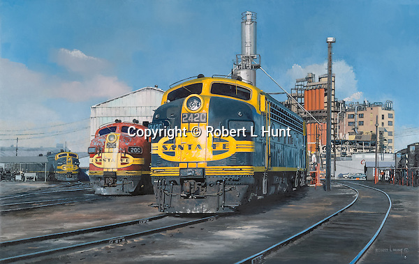 """Santa Fe F unit diesel locomotives sanding and fueling at an engine maintenance facility in Houston, Texas, with some units showing some well earned weathering. Oil on canvas, 18"""" x 28""""."""