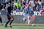 CD Leganes's Martin Braithwaite and Valencia CF' Jacundo Sebastian Roncaglia during La Liga match, Round 25 between CD Leganes and Valencia CF at Butarque Stadium in Leganes, Spain. February 24, 2019. (ALTERPHOTOS/A. Perez Meca)