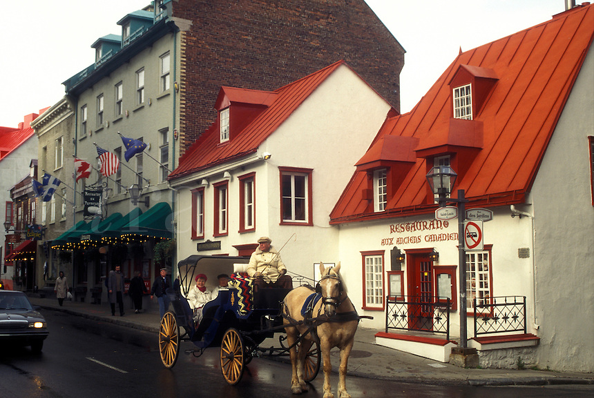 Canada, Quebec, Horse drawn carriage ride takes tourists along Rue St. Louis in Old Quebec City
