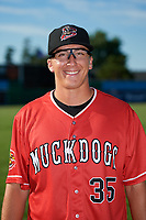 Batavia Muckdogs pitcher Peyton Culbertson (35) poses for a photo before a game against the State College Spikes on July 9, 2018 at Dwyer Stadium in Batavia, New York.  State College defeated Batavia 3-0.  (Mike Janes/Four Seam Images)
