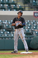 Jupiter Hammerheads Marcus Chiu (14) smiles after hitting a triple during a game against the Lakeland Flying Tigers on July 30, 2021 at Joker Marchant Stadium in Lakeland, Florida.  (Mike Janes/Four Seam Images)