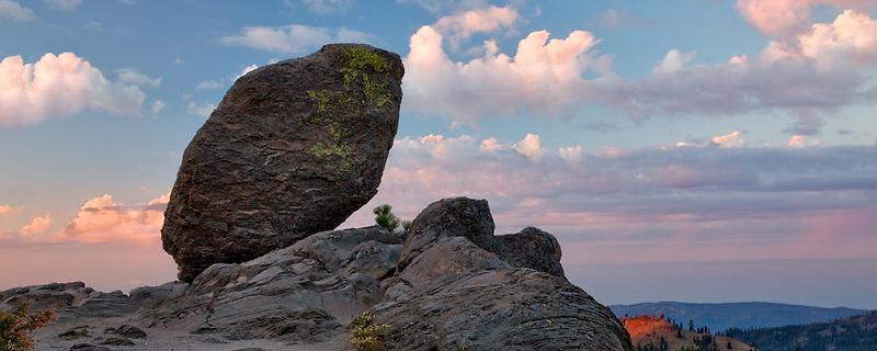 Balancing rock (Glacial eratic). Lassen Volcanic National Park. California