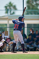 GCL Braves first baseman Justin Morhardt (91) at bat during a game against the GCL Pirates on July 26, 2017 at Pirate City in Bradenton, Florida.  GCL Braves defeated the GCL Pirates 12-5.  (Mike Janes/Four Seam Images)