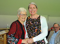 Sally Morrison (right) with Trish McKelvey. Cricket Wellington membership badge presentations in the Long Room at the Basin Reserve in Wellington, New Zealand on Saturday, 14 November 2020. Photo: Dave Lintott / lintottphoto.co.nz