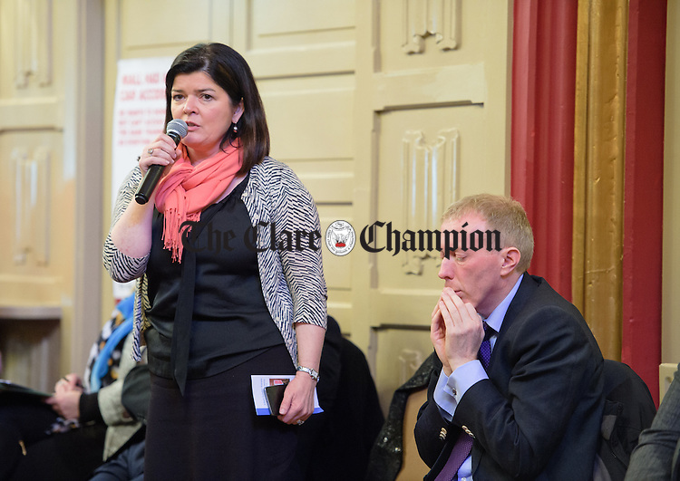 Fianna Fail's Clare Colleran Molloy speaking at a Clare Leader Forum public meeting for people with disabilities, with election candidates in the Temple Gate Hotel. Photograph by John Kelly.