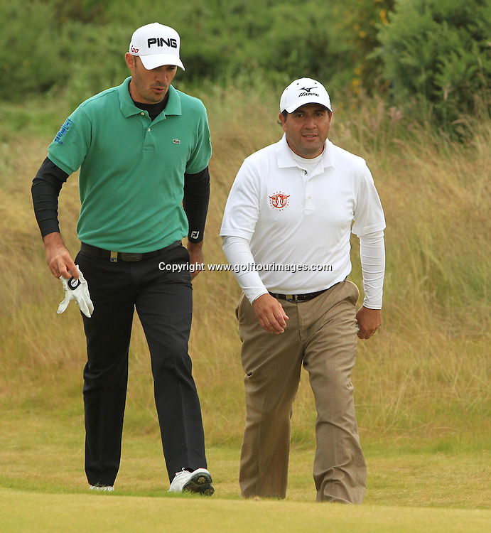 Gregory Havret and Ricardo Gonzalez during the second round of the 2012 Aberdeen Asset Management Scottish Open being played over the links at Castle Stuart, Inverness, Scotland from 12th to 14th July 2012:  Stuart Adams www.golftourimages.com:13th July 2012