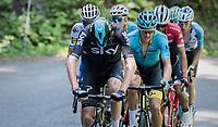 Chris Froome (GBR/SKY) trying to force the pace (in his typical 'open arms' style) up the finish climb of the Dauphiné: the Plateau de Solaison (HC/1508m/11.3km @9.2%)<br /> <br /> 69th Critérium du Dauphiné 2017<br /> Stage 8: Albertville > Plateau de Solaison (115km)