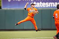 Oklahoma State Cowboys second baseman Tim Arakawa #2 makes an off balanced throw to first base during the NCAA baseball game against the Texas Longhorns on April 26, 2014 at UFCU Disch–Falk Field in Austin, Texas. The Cowboys defeated the Longhorns 2-1. (Andrew Woolley/Four Seam Images)