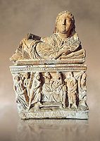 Etruscan Hellenistic style cinerary, funreary, urn ,  National Archaeological Museum Florence, Italy