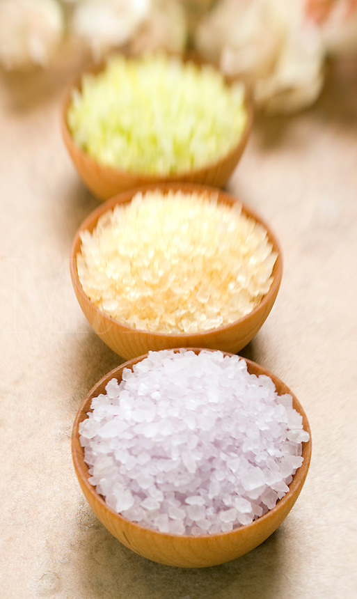 Bath Salt in Wood bowls..
