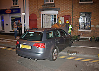 RTC involving an Audi A4 in collision with the front of a private house Warwickshire UK. This image may only be used to portray the subject in a positive manner..©shoutpictures.com..john@shoutpictures.com