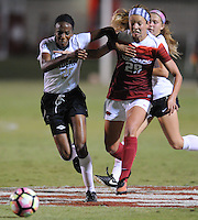 NWA Democrat-Gazette/ANDY SHUPE<br /> Arkansas' Hannah Neece (29) and Vanderbilt's Sasha Gray vie for the ball Thursday, Oct. 6, 2016, during the second half of play at Razorback Field in Fayetteville. Visit nwadg.com/photos to see more photographs from the game.