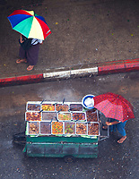 Tropical rain and Monsoon Season looking down into the streets in Yangon, Myanmar