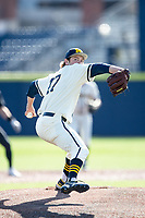 Michigan Wolverines pitcher Jacob Denner (47) delivers a pitch to the plate against the Michigan State Spartans on March 21, 2021 in NCAA baseball action at Ray Fisher Stadium in Ann Arbor, Michigan. Michigan scored 8 runs in the bottom of the ninth inning to defeat the Spartans 8-7. (Andrew Woolley/Four Seam Images)